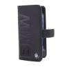 BMW iPhone 5/5S/SE Signature Debossed Logo Leather oldalra nyíló tok, fekete
