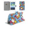 Bőrtok, Samsung Galaxy Tab 3 7.0 SM-T210 / P3200, mappa tok, virágmintás, kék