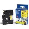 Brother TZ-FX611 / TZe-FX611, 6mm x 8m, fekete nyomtatás / sárga alapon, eredeti szalag