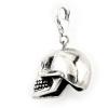 """""""Bűvös koponya"""" antikolt felületű ezüst koponya charme karabinerrel. (Méret: viseletkor magasság × szélesség  × mélység mm-ben)"""