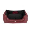 Cazo Paris puha bőr kutyaágy - vörös és fekete - 75x60cm