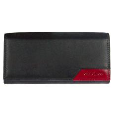CEFIRO Fekete színű 2 aprótartós bőr pénztárca bordó betéttel Cefiro