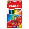 ceruza készlet, háromszögletű, vastag, KORES Jumbo, 12 különböző szín, 12 db/készlet (IK100712)