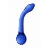 Christalino G-Rider - hajlított, G-pont üveg dildó (kék)