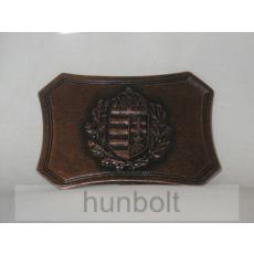 Címeres, szögletes sötét övcsat (bronz színű fém, 8x5,5 cm)