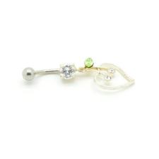 Cirkónia kővel diszített köldök piercing. Fehér, zöld. testékszer