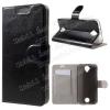 CRAZY notesz tok / flip tok - FEKETE - asztali tartó funkciós, oldalra nyíló, rejtett mágneses záródás, bankkártya tartó, szilikon belsõ - ACER Liquid Z330 / Z320 / M320