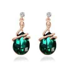 Csepp alakú fülbevaló zöld kristállyal, aranyozott fülbevaló