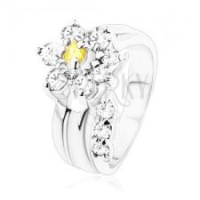 Csillogó gyűrű, ívelt szár, cirkóniás virág sárga és átlátszó színben gyűrű