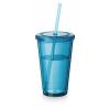 Cyclone duplafalú pohár szívószállal, világoskék