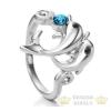 Delfines gyűrű, Kék, Swarovski köves, 9