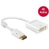 DELOCK Adapter Displayport 1.2-dugós csatlakozó > DVI-csatlakozóhüvely 4K aktív fehér