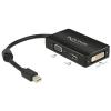 DELOCK Adapter mini Displayport 1.1-dugós csatlakozó > VGA / HDMI / DVI passzív fekete