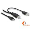 Delock DL82447 2db USB-A 2.0 apa -> USB mini 5 tűs kábel