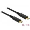 DELOCK kábel USB 3.1 Gen 2 Type-C male/male összekötő, 1m, 3A E-Marker (83661)