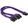 DELOCK Power 6pin -> 2db Power 8pin M/F tápkábel 0.3m lila