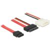 DELOCK SATA -> SATA Slimline 13pin F/F adatkábel 0.7m piros