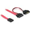 DELOCK SATA SATA Power 15pin -> Slimline SATA F/F adatkábel 0.5m piros