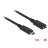 DeLock SuperSpeed USB3.1 Gen1 USB Type-C male > female 3 A cable 1m Black (85533)