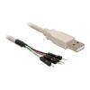 DELOCK USB A -> Pinheader 4pin M/M adatkábel 0.4m fehér