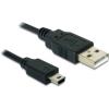 DELOCK USB A -> USB mini B 5pin M/M adatkábel 0.7m fekete