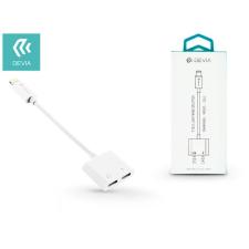 Devia Devia lightning adapter egyidőben történő töltéshez és zenehallgatáshoz - Devia Smart 2in1 Lightning adapter - white kábel és adapter