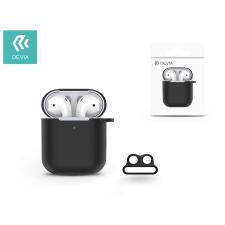 Devia Devia szilikon tok AirPods fülhallgatóhoz - Devia AirPods v.2 Naked Silicone Case Suit for AirPods (whit loophole) - black tok és táska