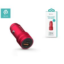 Devia Devia szivargyújtós töltő adapter USB + Type-C bemenettel - 5V/3A - Devia Traveller Series PD Quick Car Charger - red mobiltelefon kellék