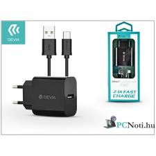 Devia ST301179 Smart 2A univerzális fekete hálózati töltő + Type-C kábel audió/videó kellék, kábel és adapter