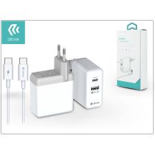 Devia USB hálózati gyorstöltő adapter + USB Type-C kábel - Devia PD Quick Charge Pack QC 3.0 - white tok és táska