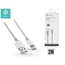 Devia USB - USB Type-C adat- és töltőkábel 2 m-es vezetékkel - Devia Pheez USB Type-C 2.0 Cable -silver kábel és adapter