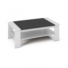 Dohányzóasztal, DTD laminált, ABS él, fehér/fekete, BAKER bútor