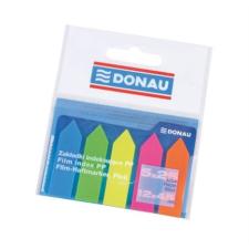 DONAU Jelölőcimke, műanyag, nyíl forma, 5x25 lap, 12x45 mm, DONAU, neon szín etikett