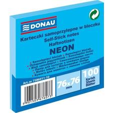 DONAU Öntapadó jegyzettömb, 76x76 mm, 100 lap, DONAU, neon kék jegyzettömb