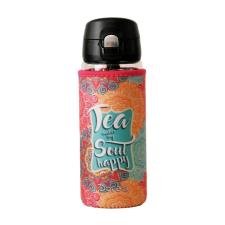 Doras DORAS teás, kávés üvegkulacs mintás, kifordítható neoprén huzattal, egykezes kupakkal, 380 ml kulacs, kulacstartó