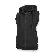 Dressa nagyméretű ujjatlan cipzáros kapucnis női pulóver - fekete női pulóver, kardigán