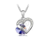 Dupla szív medál sötétlila kővel nyakláncon jwr-1352