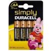 DURACELL AA DURACELL SIMPLY 1,5V Ceruza elem LR6/MN1500 4db/csomag