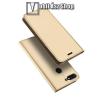 DUX DUCIS slim design notesz / mappa tok - ARANY - oldalra nyíló flip cover, asztali tartó funkció, szilikon belsõ - HUAWEI Y9 (2018) / HUAWEI Enjoy 8 Plus - GYÁRI