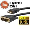 DVI -HDMI kábel aranyozott csatlakozóval - 5m (20382)