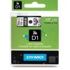 Dymo D1 45010, S0720500, 12mm x 7m fekete nyomtatás / átlátszó alapon, eredeti szalag