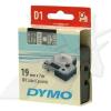 Dymo D1 45810, S0720900, 19mm x 7m, fehér nyomtatás / átlátszó alapon, eredeti szalag