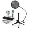 Electronic-Star auna MIC-900S-LED V2, háromrészes USB mikrofon készlet, kondenzátoros mikrofon + pop szűrő + asztali állvány