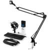 Electronic-Star auna MIC-900WH-LED USB mikrofon szett V3 kondenzátoros mikrofon + mikrofontartó kar, LED, fehér