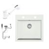 Eos Gránit mosogató EOS Como + Kihúzható zuhanyfejes Shower csaptelep + dugókiemelő + szifon (fehér)