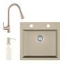 Eos Gránit mosogató EOS Como + Kihúzható zuhanyfejes Snake csaptelep + adagoló + szifon (bézs)