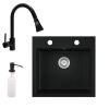 Eos Gránit mosogató EOS Como + Kihúzható zuhanyfejes Snake csaptelep + adagoló + szifon (fekete)