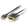 Equip 119322 HDMI - DVI kábel, aranyozott, 2m