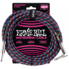 Ernie Ball 25' Braided Straight / Angle Instrument Cable Red/White/Blue/Black