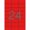 ETIKETT CÍMKE SZÍNES 70X37 MM PIROS 24 DB/ÍV, 25 ÍV/CSOMAG